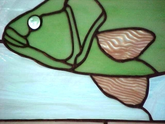 green pink fish detail