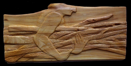 'Carrying Sticks', carved butternut wood
