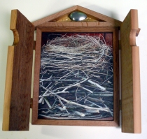 'Nest' (open), digital image on cedar wood
